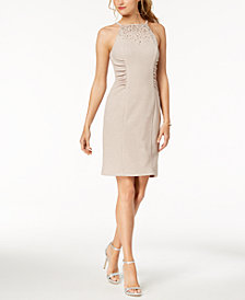 Vince Camuto Embellished Ruched Sheath Dress
