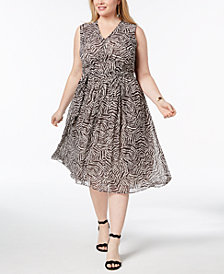 Anne Klein Plus Size Pleated A-Line Midi Dress
