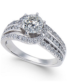 Diamond Multi-Row Swirl Engagement Ring (2 ct. t.w.) in 14k White Gold