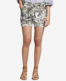 Sanctuary Printed Linen Tie-Waist Shorts