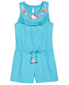 Hello Kitty Little Girls Embroidered Fringe-Trim Romper