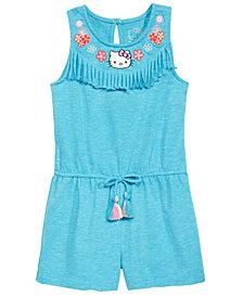 Hello Kitty Toddler Girls Embroidered Fringe-Trim Romper