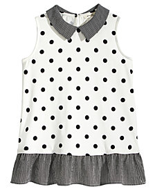 Monteau Dot-Print Peplum Top, Big Girls