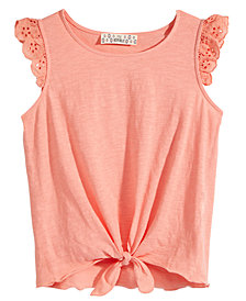 Pink Republic Big Girls Eyelet-Sleeve Tie-Front Top