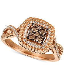 Le Vian Chocolatier® Diamond Cluster Rope-Look Ring (3/8 ct. t.w.) in 14k Rose Gold