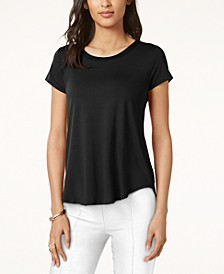 Petite Satin-Trim High-Low T-Shirt, Created for Macy's