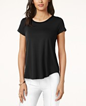 ec58892b6 Alfani Satin-Trim High-Low T-Shirt, Created for Macy's