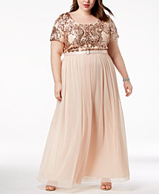 R & M Richards Plus Size Belted Sequin-Bodice Gown