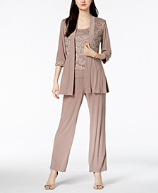 R & M Richards Petite Embellished Lace Jacket, Shell & Pants