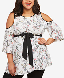 Motherhood Maternity Plus Size Floral-Print Cold-Shoulder Top