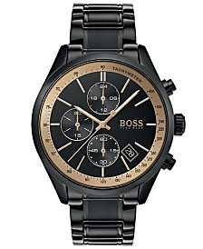 BOSS Hugo Boss Men's Chronograph Grand Prix Black Stainless Steel Bracelet Watch 44mm