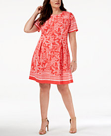Jessica Howard Plus Size Puffed-Paint Dress