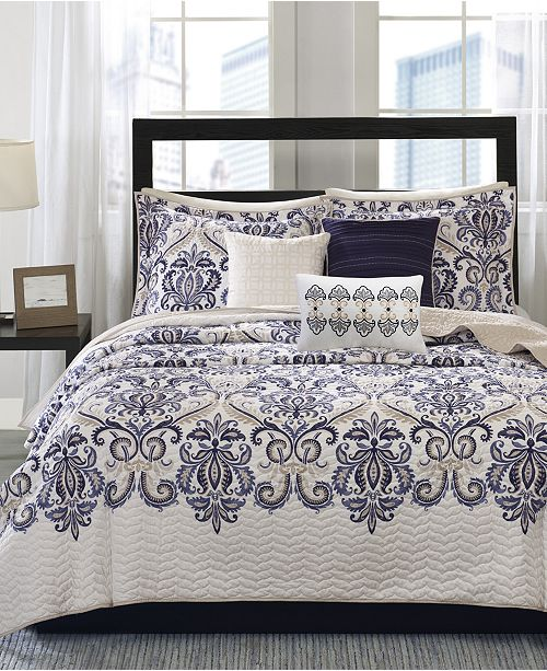 Madison Park Cali 6-Pc. Quilted Full/Queen Coverlet Set