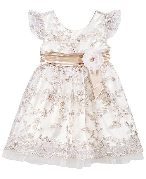 88bb8308dd69 ... Bonnie Baby Baby Girls Ivory   Gold Floral Embroidered Dress ...