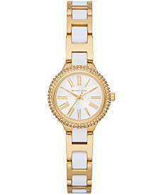 Michael Kors Women's Petite Taryn Gold-Tone Stainless Steel & White Acetate Bracelet Watch 25mm
