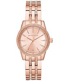 Michael Kors Women's Mini Ritz Rose Gold-Tone Stainless Steel Bracelet Watch 33mm, Created for Macy's