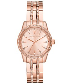 f07e6c713433 Michael Kors Women s Mini Ritz Rose Gold-Tone Stainless Steel Bracelet Watch  33mm
