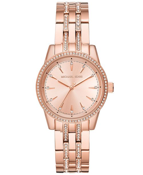58c646612 Michael Kors Women's Mini Ritz Rose Gold-Tone Stainless Steel Bracelet Watch  33mm, Created ...