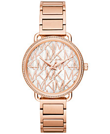Michael Kors Women's Portia Rose Gold-Tone Stainless Steel Bracelet Watch 37mm
