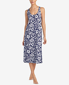 Lauren Ralph Lauren Classic Knits Back-Knot Cotton Nightgown