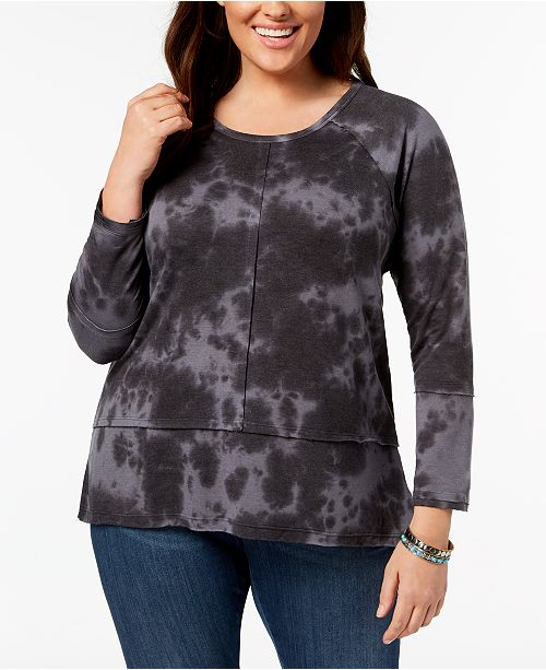 Style & Co Plus Size Cotton Tie-Dye Top, Created for Macy's