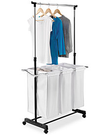Honey Can Do Rolling Laundry Cart with Hanging Bar