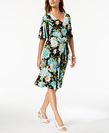 Charter Club Printed Flutter-Sleeve Dress, Created for Macy's