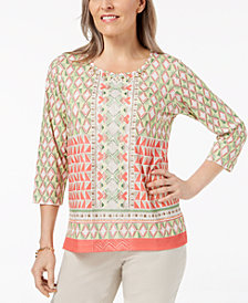 Alfred Dunner Parrot Cay Geometric-Print Top