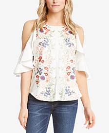 Karen Kane Embroidered Cold-Shoulder Top