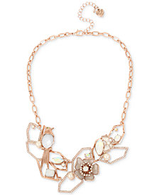 "Betsey Johnson Rose Gold-Tone Crystal & Imitation Pearl Openwork Statement Necklace, 16"" + 3"" extender"