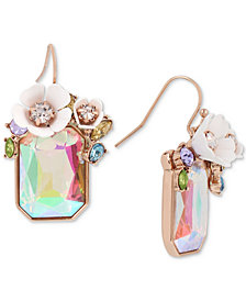 Betsey Johnson Gold-Tone Multi-Stone Flower Drop Earrings