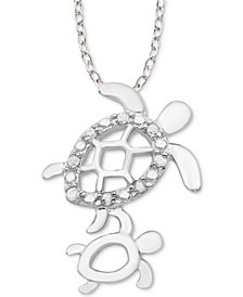"Diamond Mother & Child Turtle 18"" Pendant Necklace (1/10 ct. t.w.) in Sterling Silver"