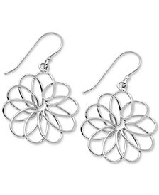 Essentials Medium Openwork Flower Drop Earrings in Fine Silver-Plate