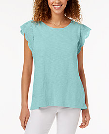 Style & Co Eyelet Ruffle T-shirt, Created for Macy's
