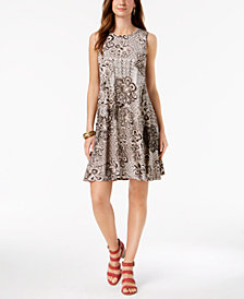 Style & Co Printed Sleeveless A-Line Dress, Created for Macy's
