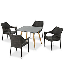 Murano 5-Pc. Outdoor Dining Set, Quick Ship
