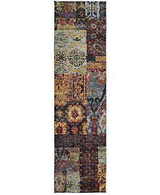 "Macy's Fine Rug Gallery Journey  Patchwork Multi 2'3"" x 8' Runner Rug"