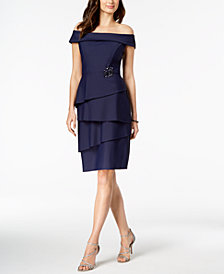 Alex Evenings Off-The-Shoulder Tiered Dress
