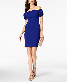 Betsy & Adam Petite Off-The-Shoulder Puff-Sleeve Dress