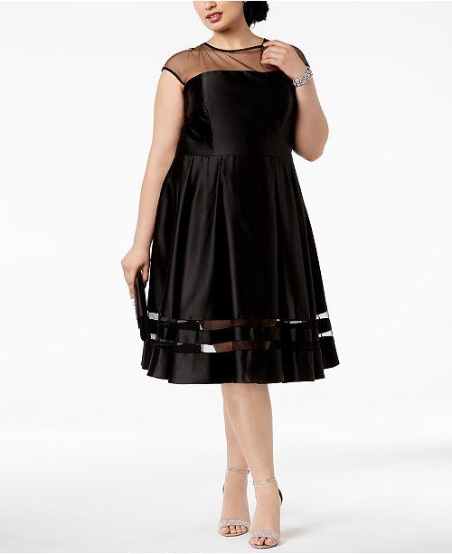a8d9a54ea2df4 Betsy   Adam Plus Size Illusion Fit   Flare Dress   Reviews ...