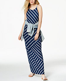 BCX Juniors' Striped-Knit Blouson Maxi Dress