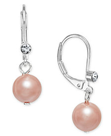 Charter Club Silver-Tone Pink Imitation Pearl Drop Earrings, Created for Macy's