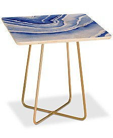 Deny Designs Laura Trevey Blue Agate Print Square Side Table