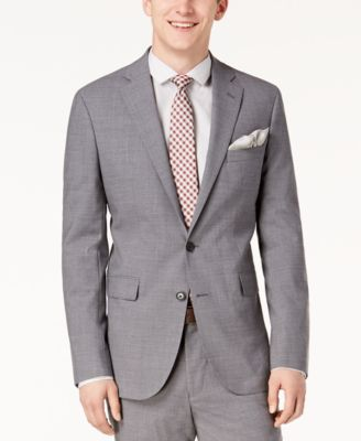 Men's Grand.OS Wearable Technology Slim-Fit Stretch Light Gray Solid Suit Jacket