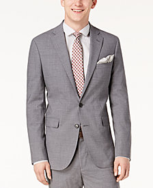 Cole Haan Men's Grand.OS Wearable Technology Slim-Fit Stretch Light Gray Solid Suit Jacket