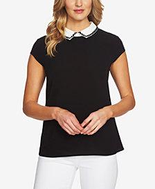 CeCe Cap-Sleeve Collared Top