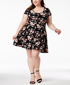 027894bf624f3 Planet Gold Trendy Plus Size Floral-Print Fit   Flair Dress