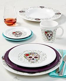 Skull and Vines White Dinnerware Set