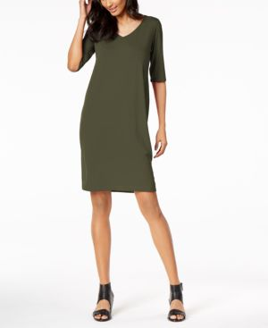 Eileen Fisher Stretch Jersey V-Neck Shift Dress, Regular & Petite 6283712