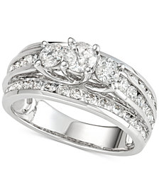 Diamond Three-Stone Multi-Row Engagement Ring (2 ct. t.w.) in 14k White Gold